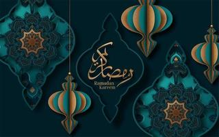 caligrafia do ramadan kareem corta papel design vetor