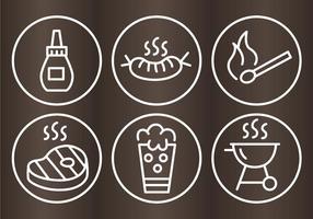 Ícones de destaque da churrascaria do churrasco vetor