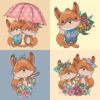 conjunto de raposas bonito dos desenhos animados com flores e guarda-chuva