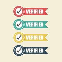 conjunto de emblemas verificado vetor