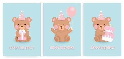 conjunto de cartões de feliz aniversário urso. vetor