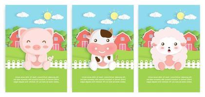 conjunto de cartões de animais de fazenda