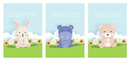 definir animais em cartões de primavera vetor