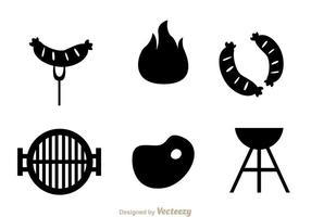 Ícones de churrasco de carne vetor