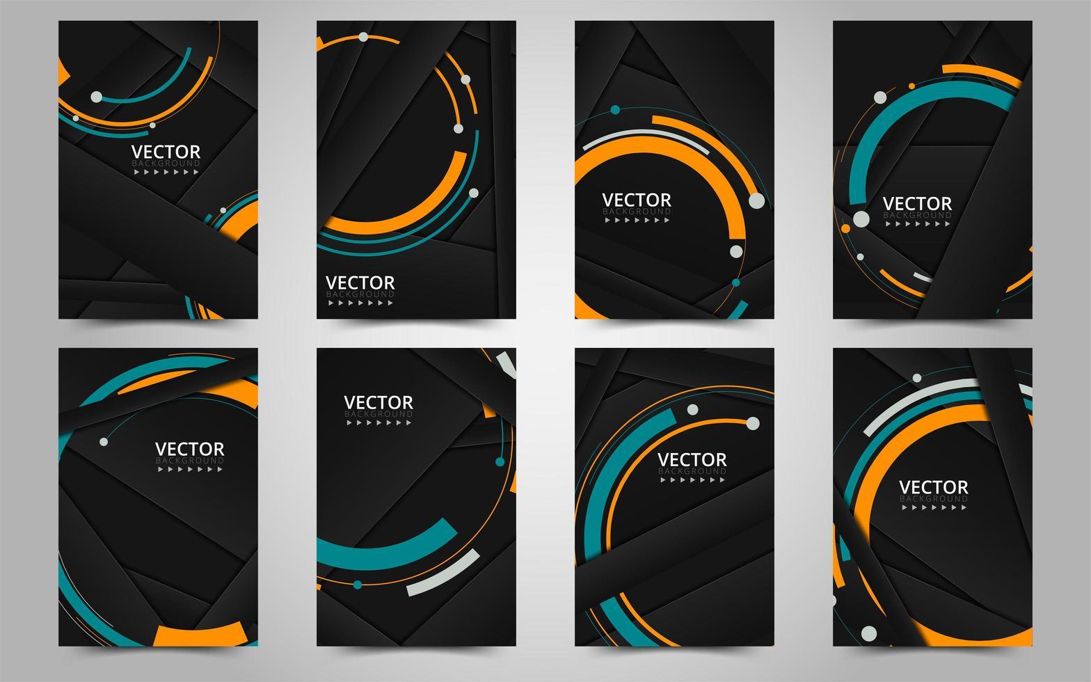 modello di brochure aziendale nero e arancione vettore