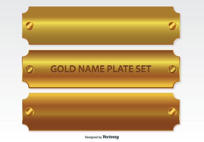 Set di targhette dorate vettore
