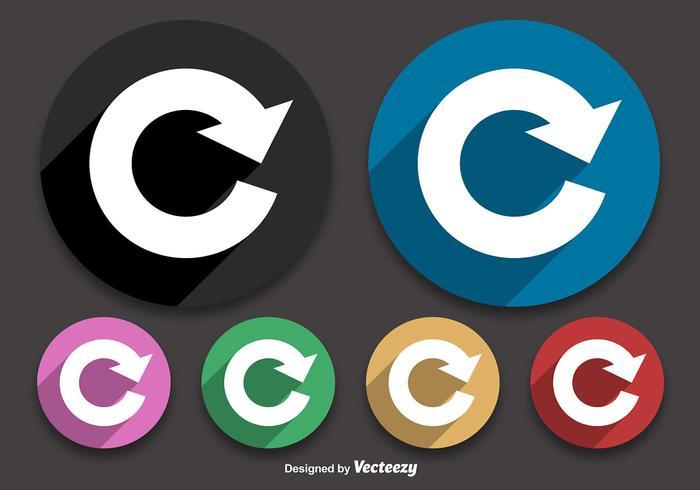 Riproduzione di icone a colori piatte vettore