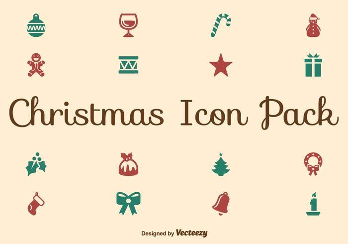Set di icone piatto di Natale vettore