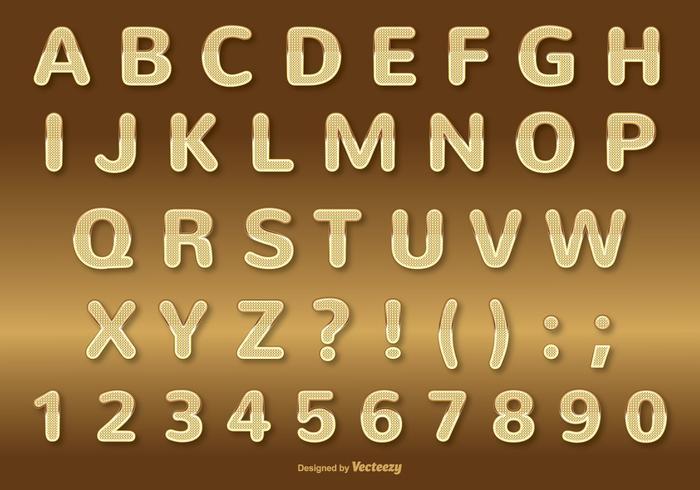Set di alfabeto oro vettore