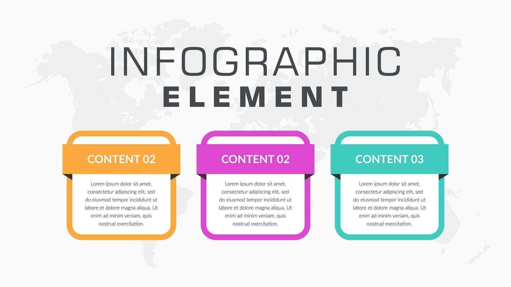 Elementi di business infografica colorato in 3 passaggi vettore