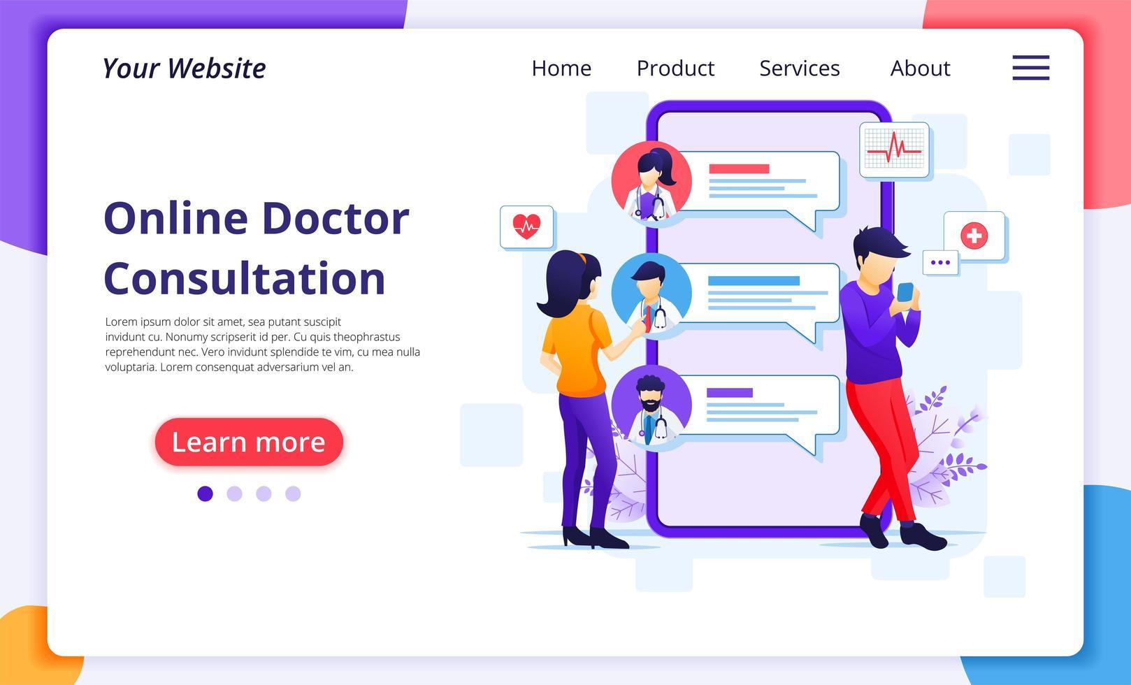 persone che si consultano con la landing page dei medici online vettore