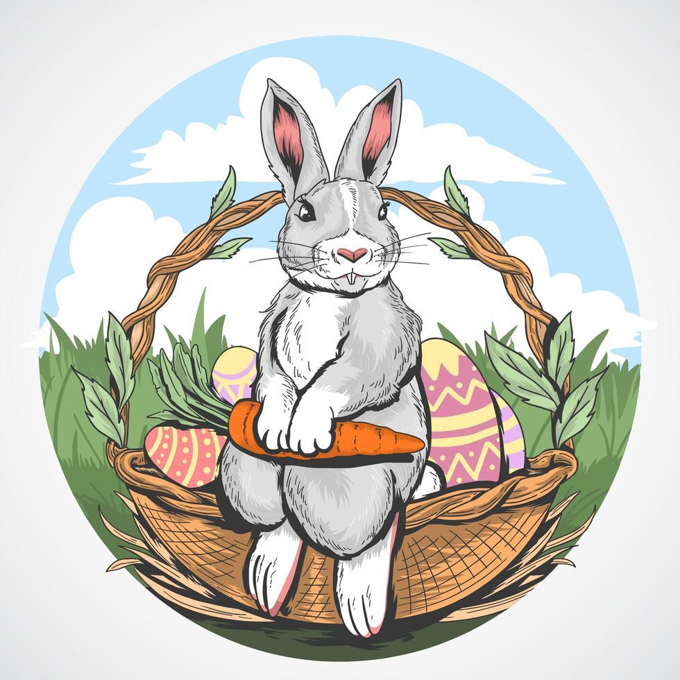 coniglietto di Pasqua con carote in cestino design vettore