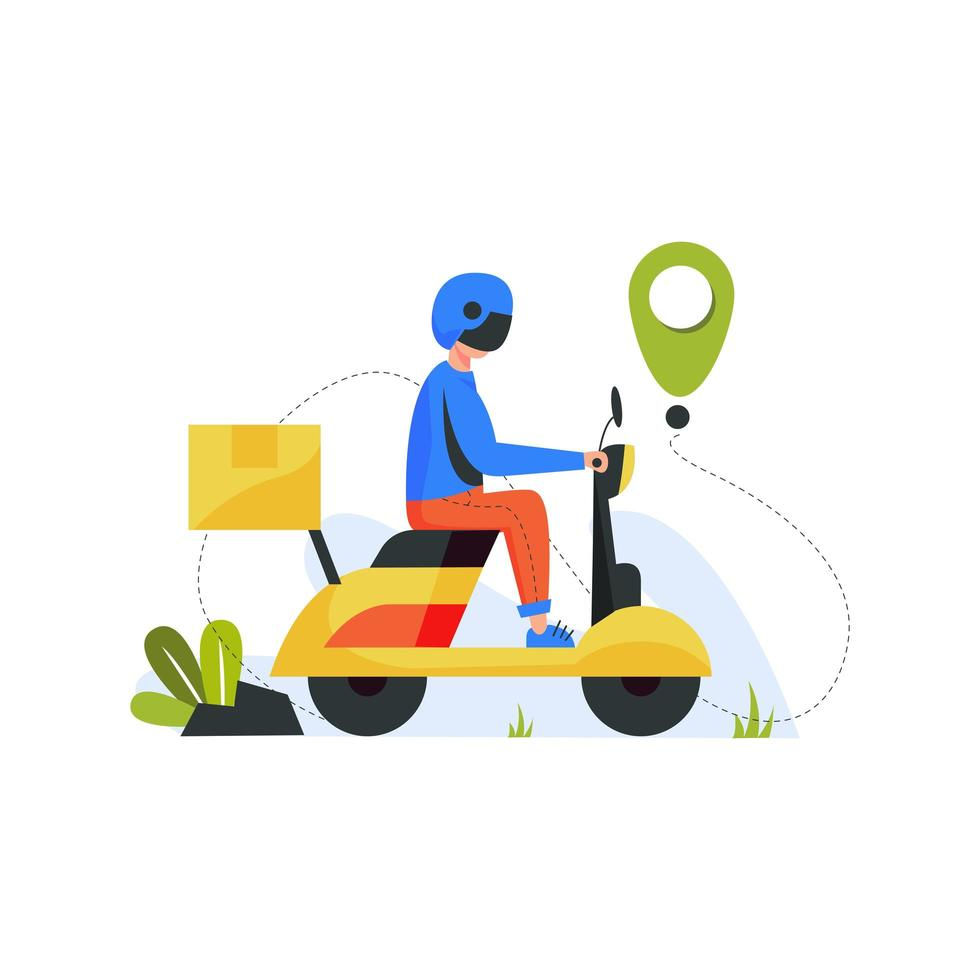 corriere con pacchetto su scooter vettore