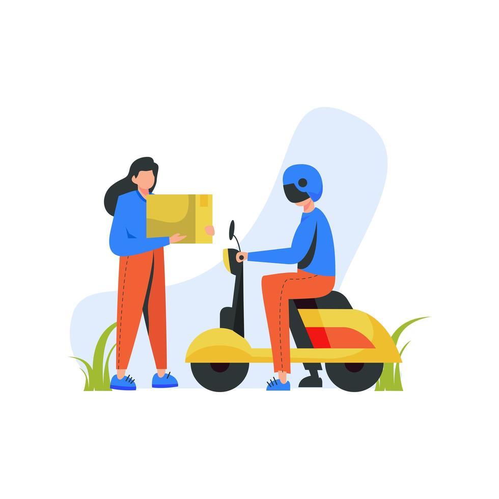 donna con pacchetto e corriere su scooter vettore