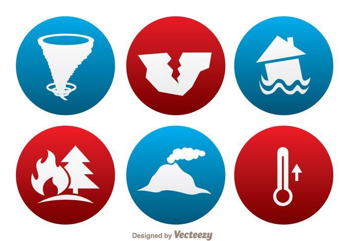 Icone del cerchio di disastro naturale vettore