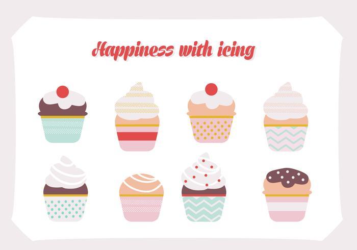 Set di sfondo vettoriale di cupcakes