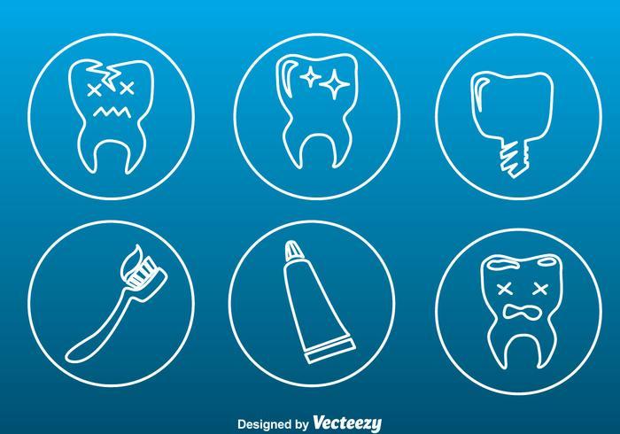 Icone di contorno stagnato cura dei denti vettore