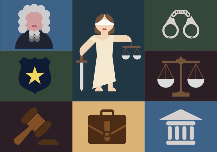 Icone piane dell'illustrazione minimalista degli elementi della giustizia vettore