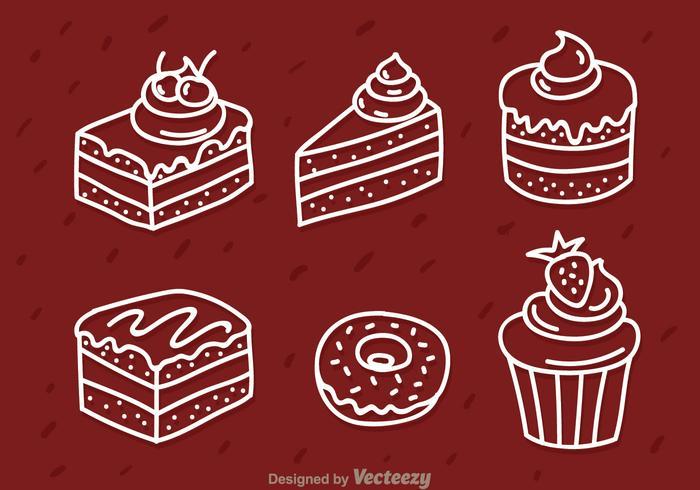 Icone di torta bianca contorno vettore