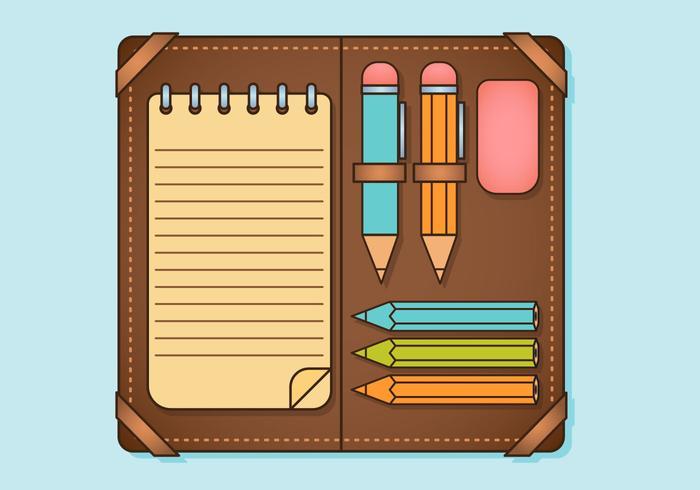 Set di elementi di matita vettore