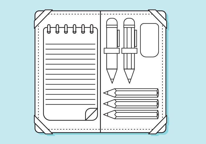 Pagina di linee piatte della matita delle maiuscole vettore