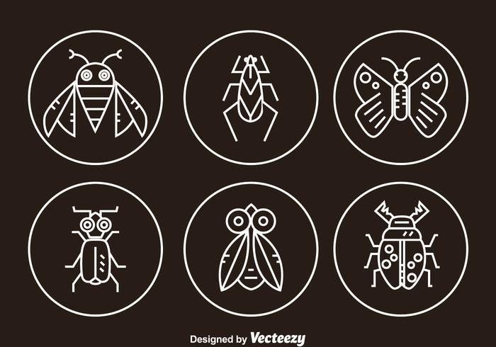 Icone della linea dell'insetto vettore