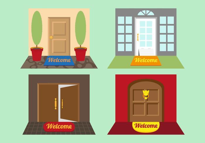 Vettore delle illustrazioni della stuoia di benvenuto