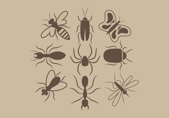 Vettore delle siluette degli insetti