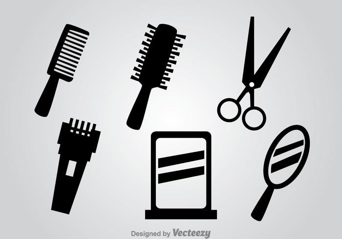 Icone di vettore nero di strumenti del barbiere