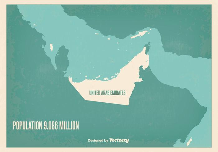 Illustrazione di mappa Vintage UAE vettore