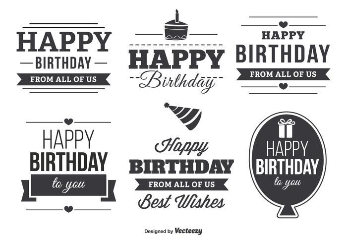 Set di etichette tipografiche di buon compleanno vettore