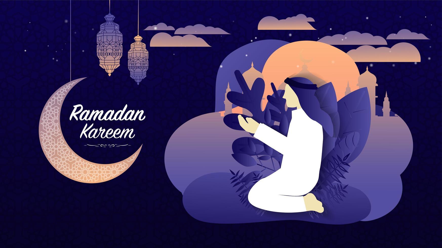 ramadan kareem o eid mubarak islamico viola moderno sfondo vettore