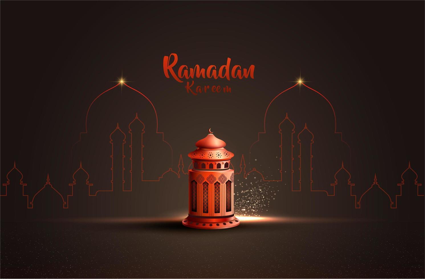 carta di Ramadan con lanterna rossa vettore