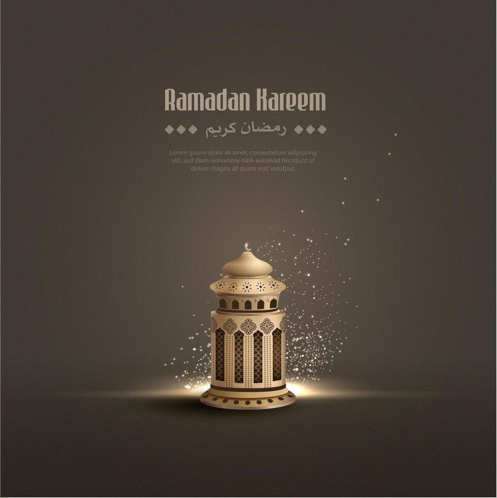 Ramadan Kareem Lantern Card vettore