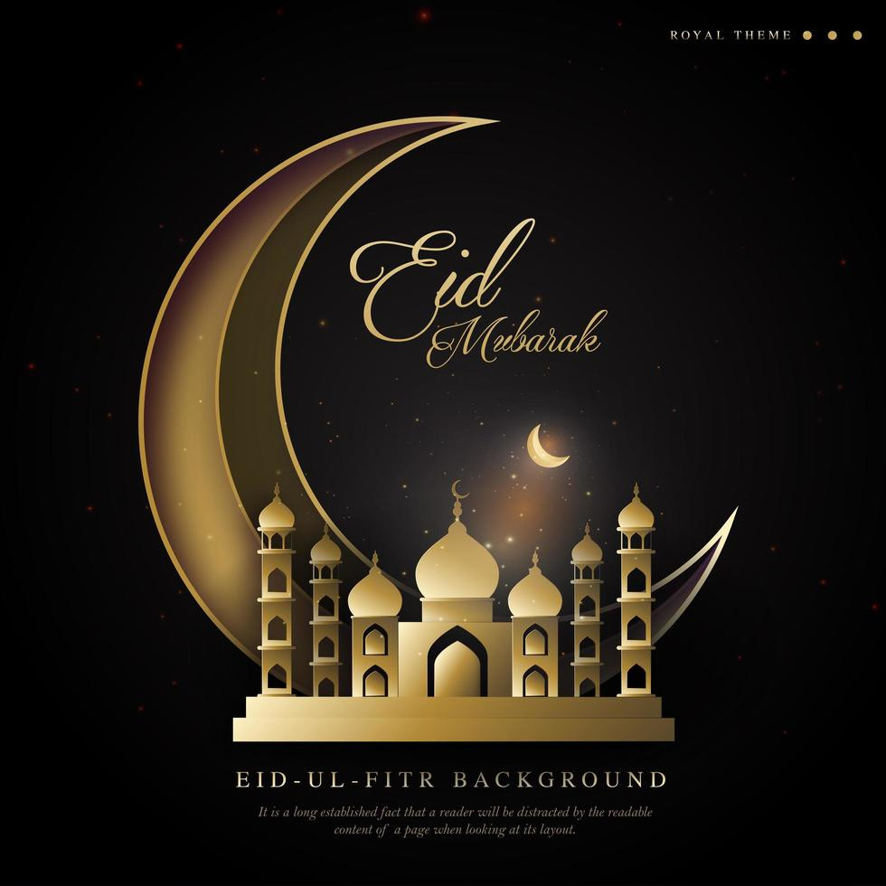 ramadan reale eid sfondo ul fitr con tema luna crescente vettore
