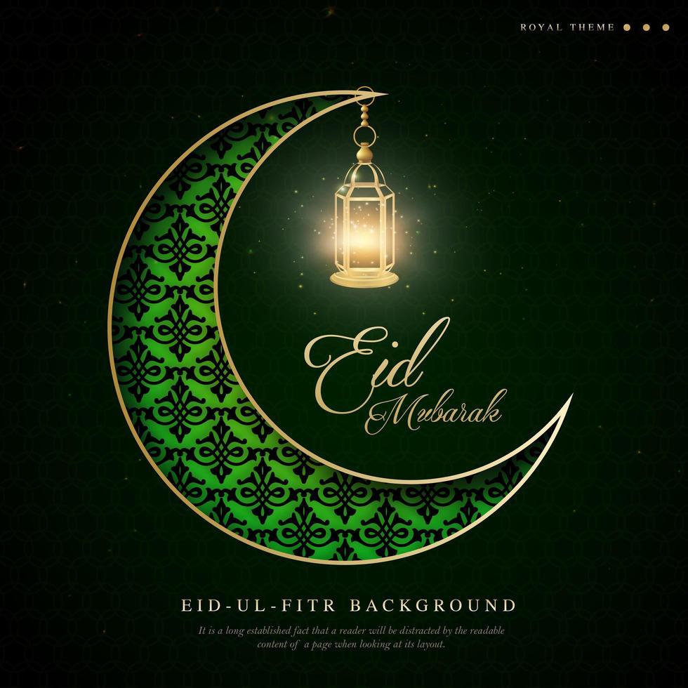 mezzaluna verde ramadan eid ul fitr sfondo vettore