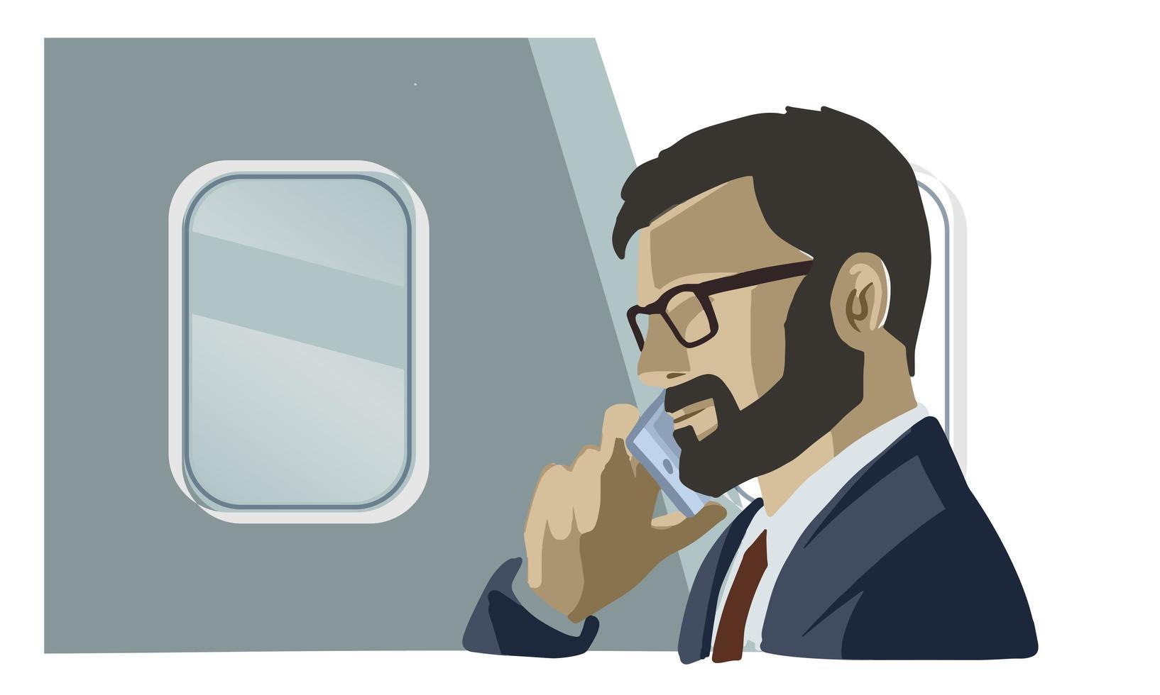 uomo d'affari parlando su smartphone vettore