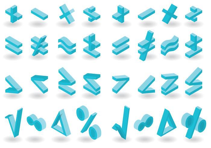 Pacchetto di simboli di matematica isometrica di vettore