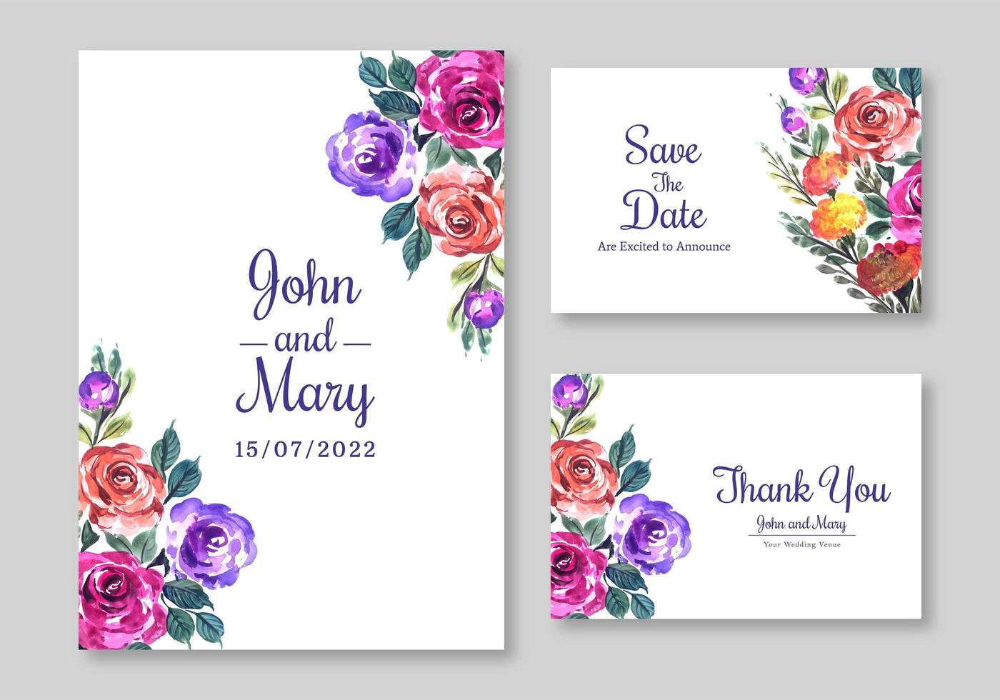 set di carte floreale floreale invito a nozze vettore
