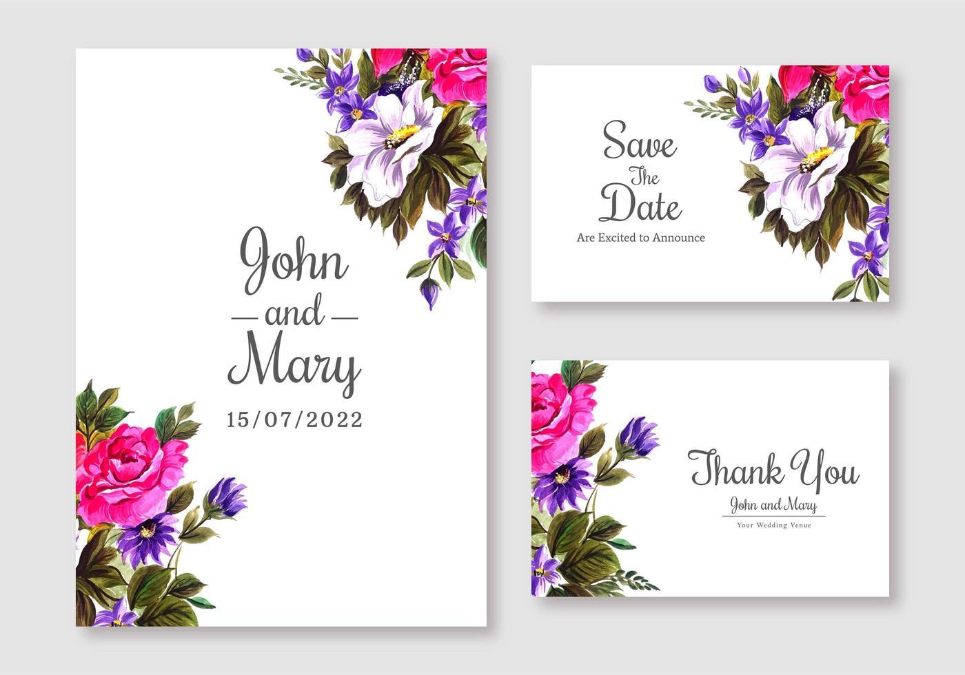 set di carte di invito matrimonio floreale rosa e viola vettore