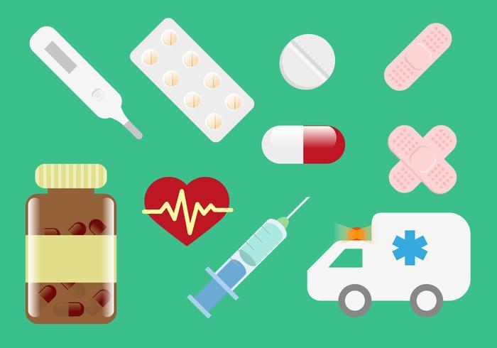 Vettore medico delle illustrazioni della scatola della pillola