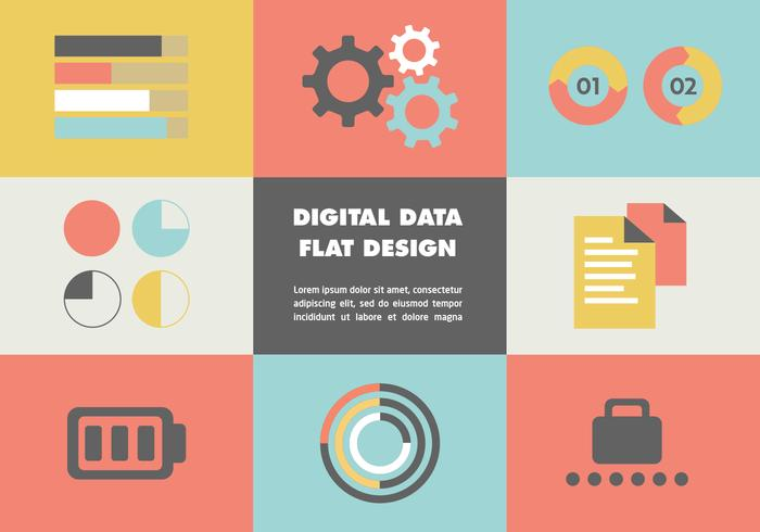 Fondo di vettore di dati digitali piani