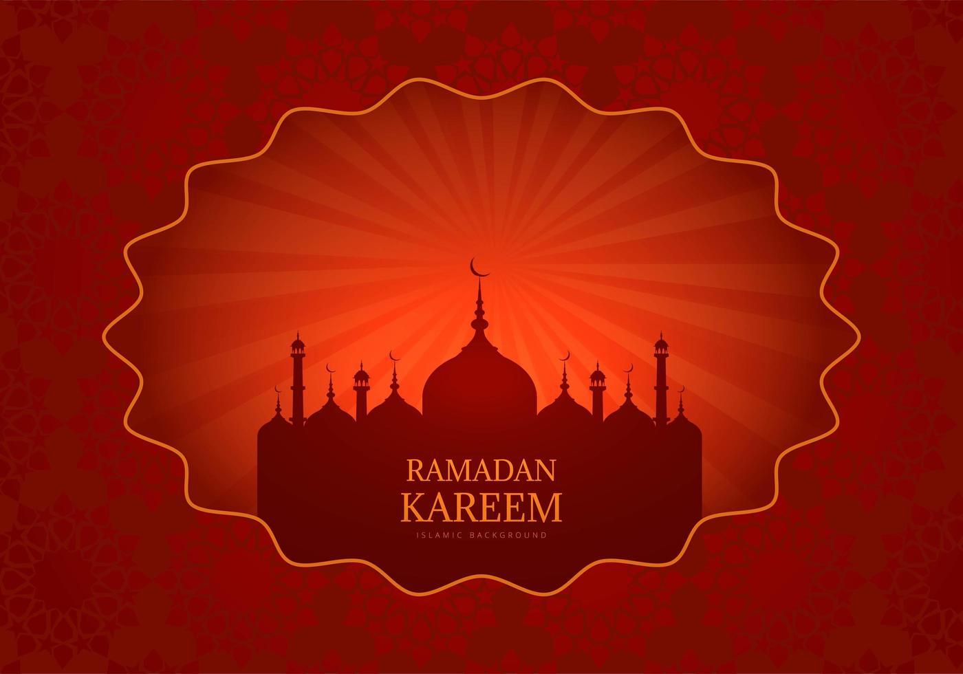 carta di ramadan kareem rosso con silhouette moschea incandescente vettore
