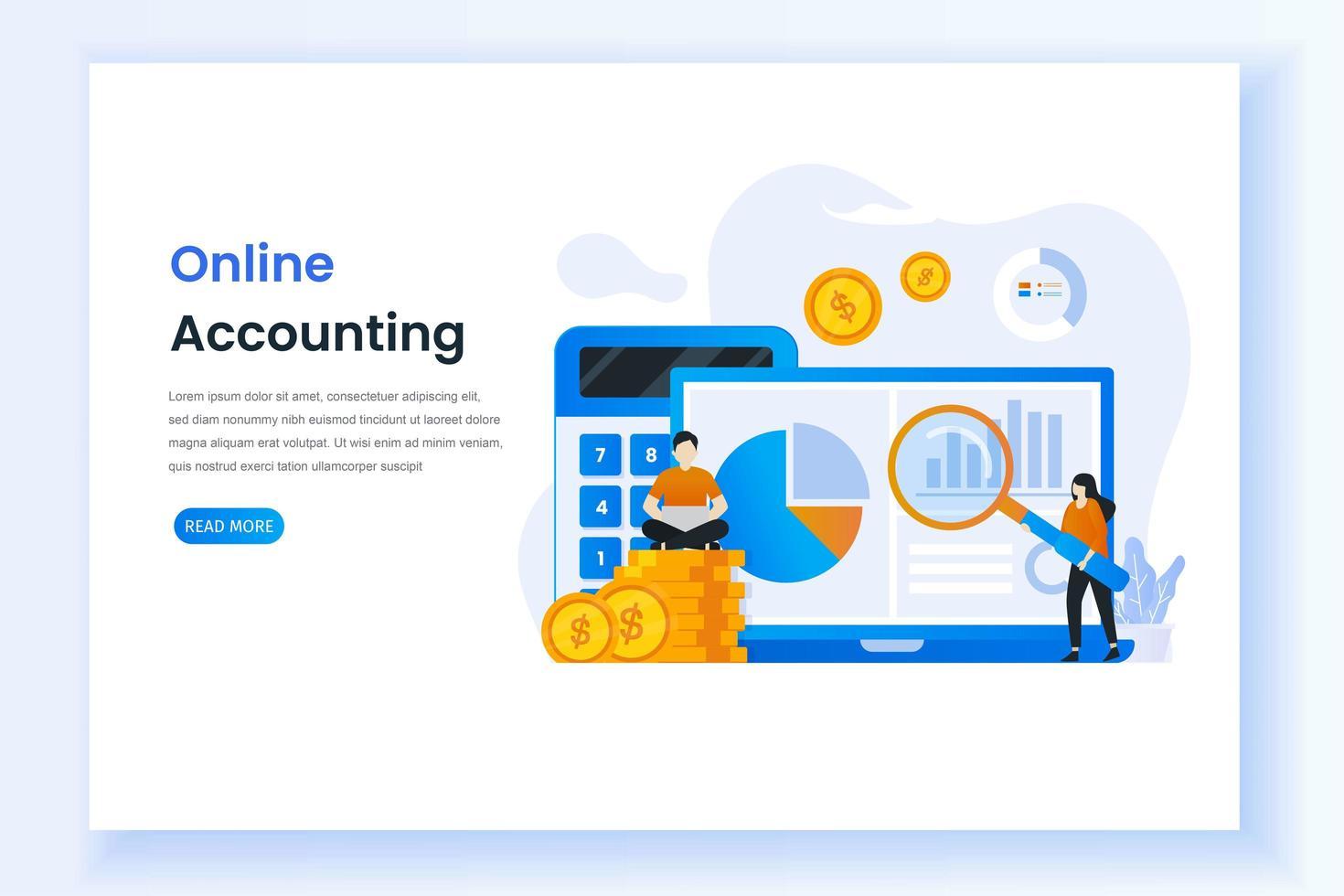 landing page per la contabilità digitale vettore