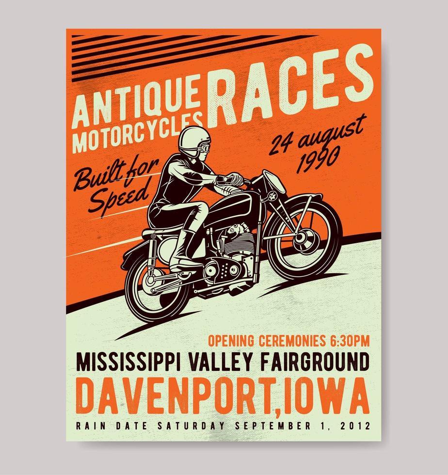 poster di corse di moto d'epoca vettore