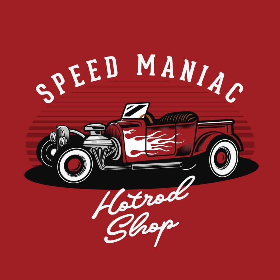 classico emblema hotrod fiammeggiante sul rosso vettore