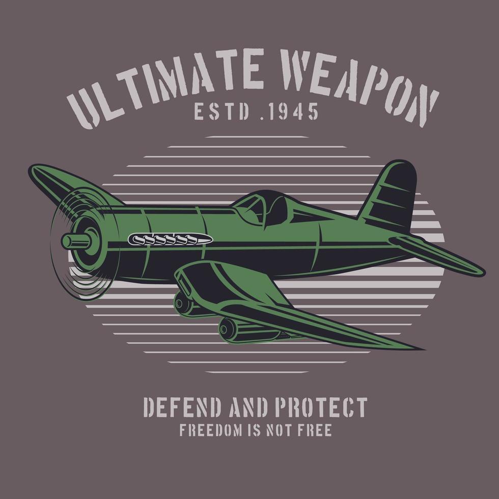 emblema dell'aeroplano verde campo di battaglia vettore
