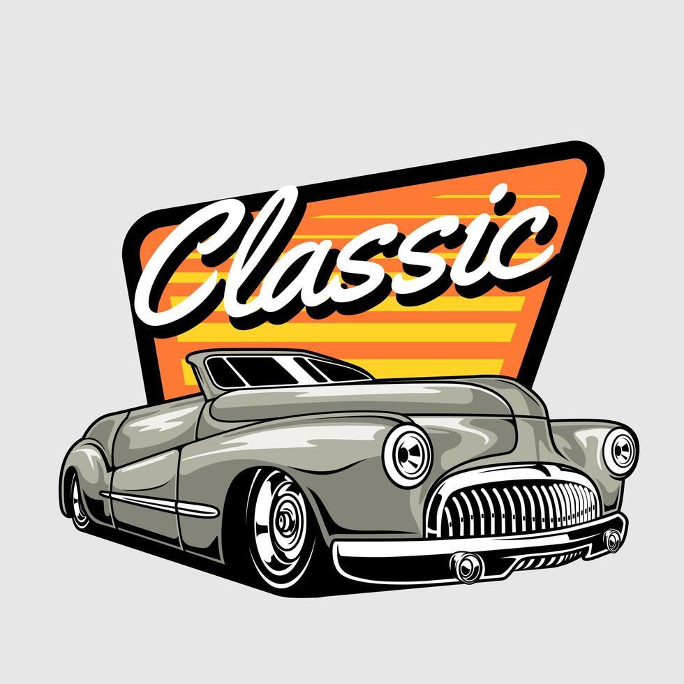 auto d'epoca su disegno astratto arancione e giallo vettore