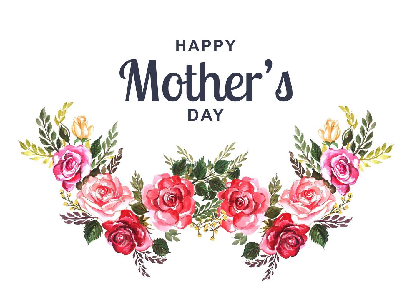 carta festa della mamma con ghirlanda di fiori ad acquerello vettore