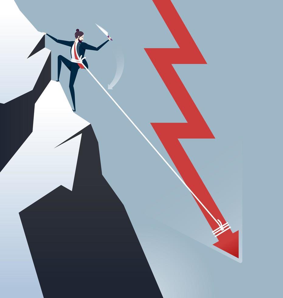 uomo d'affari attaccato a freccia in giù arrampicata montagna vettore